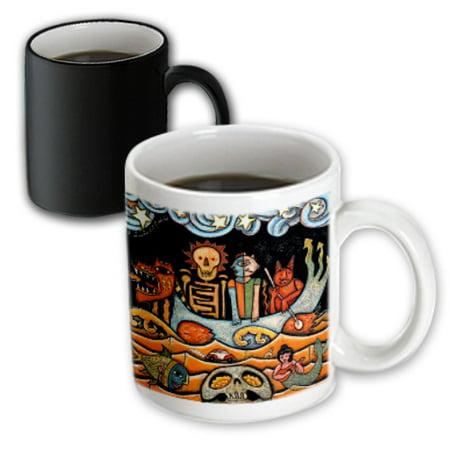 3dRose The Devil s Dream folk art skulls mexican colorful surrealism - Magic Transforming Mug, 11-ounce