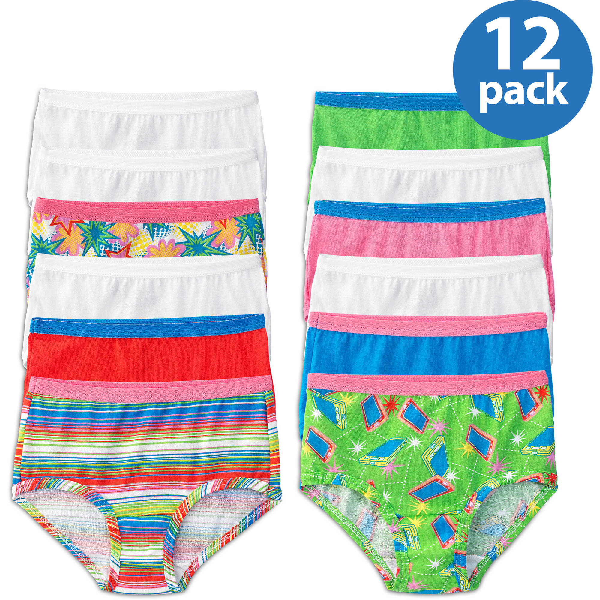 Fruit of the Loom Girls' 100% Cotton Brief Panties, 12-Pack