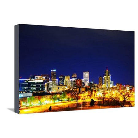 Downtown Denver, Colorado Stretched Canvas Print Wall Art By photo.ua - Halloween Night Downtown Denver