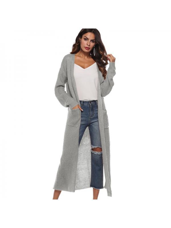 JIMSHOP Women Open Front Knitted Drape Long Sleeve Maxi Cardigan Sweater