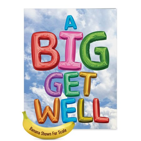 J5651FGWG-US Jumbo  Get Well Card: 'Inflated Messages From Us' with Envelope (Large Size: 8.5+ x