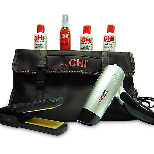 Mini Chi Pro Collection 7-Piece Travel Kit (Hair Dryer, Flat Iron, and Styling Products)