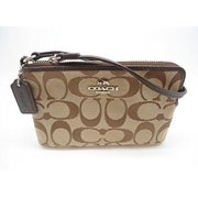 coach 12cm signature corner zip wristlet light khaki mahogany f64375 by