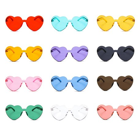 Heart-shaped Sunglasses Transparent Jelly Color Love Peach Heart Sun Glasses - image 4 of 6
