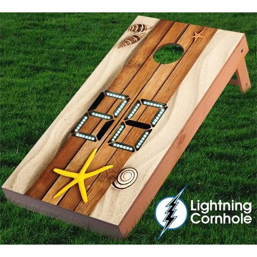 Lightning Cornhole Electronic Scoring Beach Plank Cornhole Board