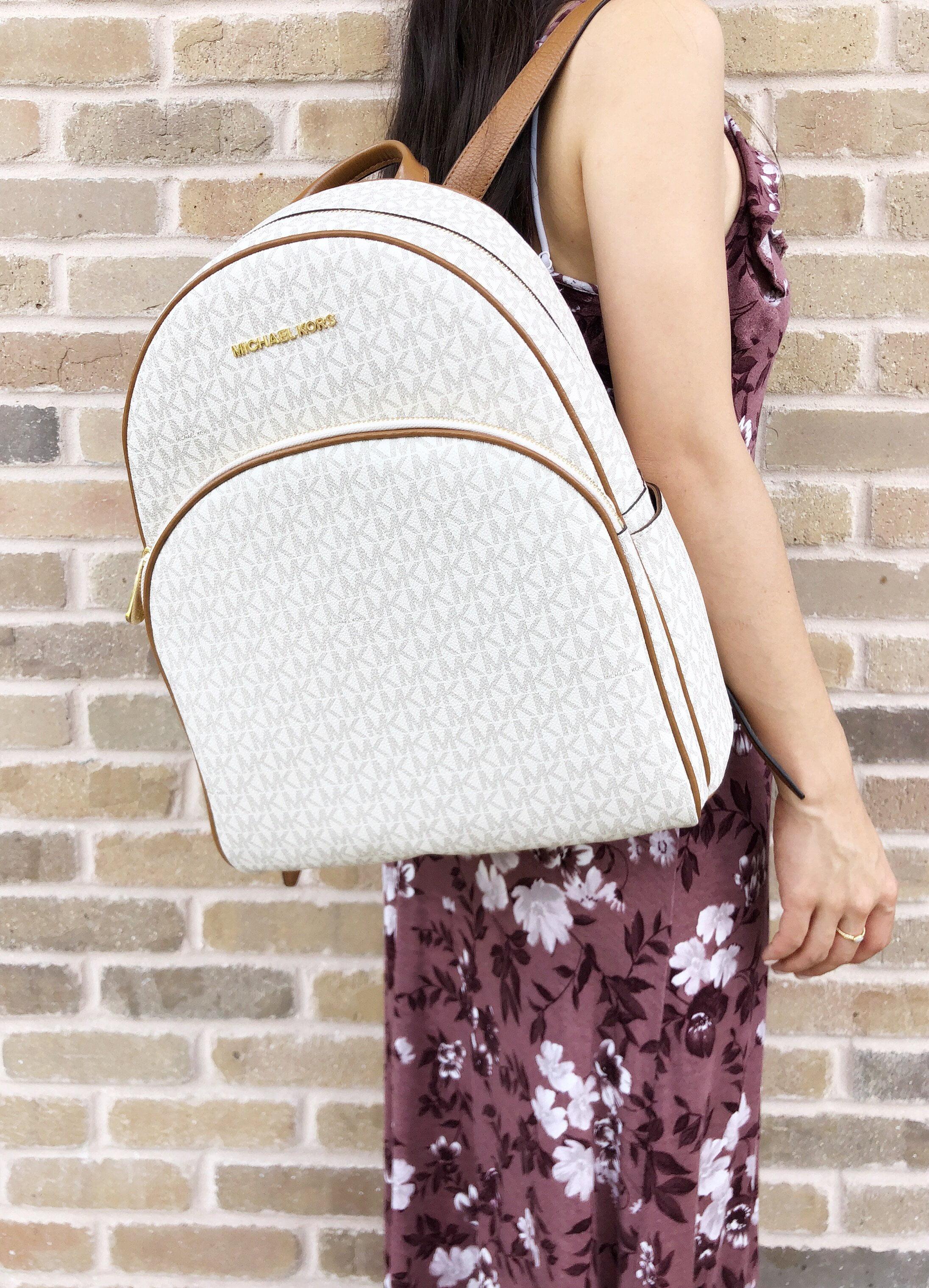 1dda38a7049a ... new style michael kors abbey large backpack vanilla mk signature pvc  leather 2018 fall b2125 f4566