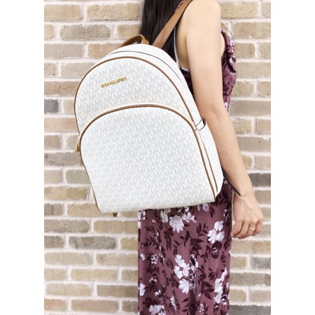 3ef12220a1b8 Michael Kors - Michael Kors Abbey Large Backpack Vanilla MK Signature PVC  Leather 2018 Fall - Walmart.com