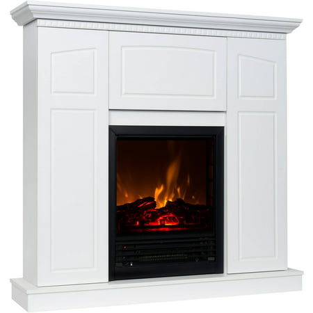"Buy Decor-Flame Electric Fireplace with 40"" Mantle and Storage at Walmart.com"