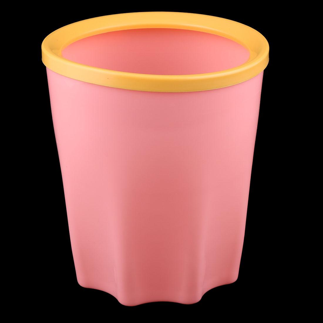 Plastic Table Desktop  Waste Rubbish Bin Garbage Trash Can Pink 17 x 15cm - image 2 of 4
