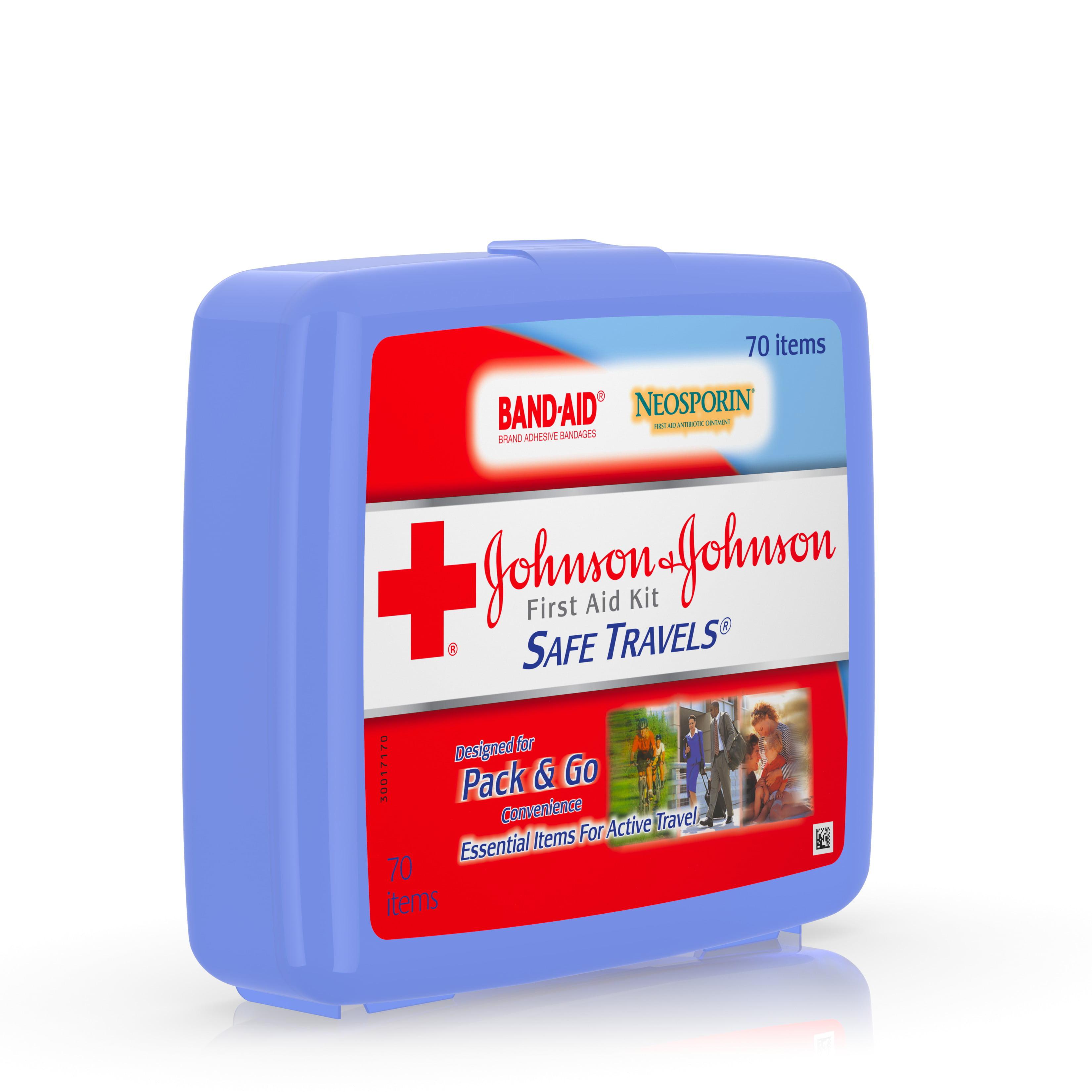 Johnson & Johnson Red Cross Brand Safe Travels First Aid Travel Kit ...