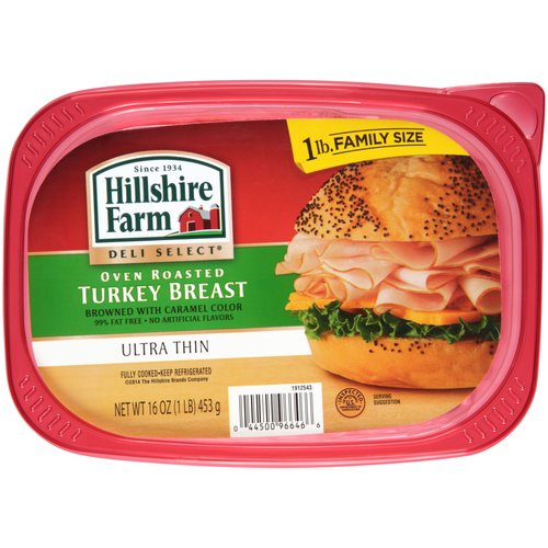 Hillshire Farm Deli Select Ultra Thin Oven Roasted Turkey Breast, 16 oz
