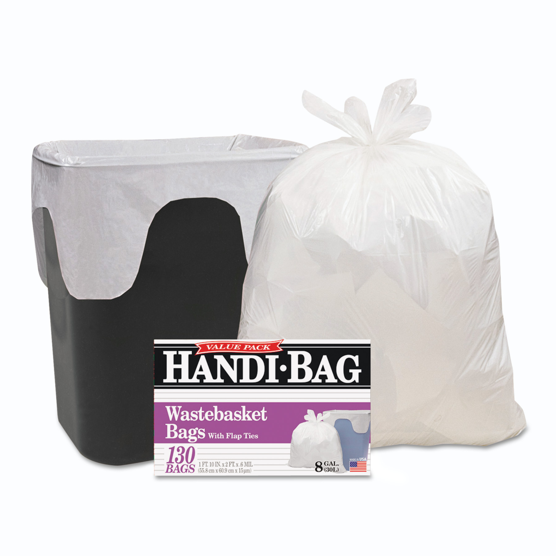 Handi-Bag Handi-Bag Super Value Pack, 8gal, 0.6mil, 22 x 24, White, 130/Box, 6 Box/Carton