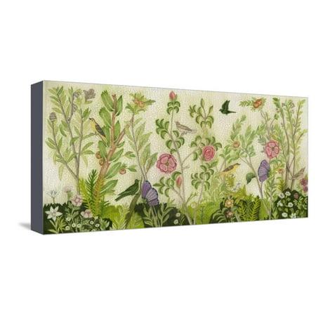 Flora Fresco Shabby Cottage Chic Chinoiserie Flower Botanical Art Stretched Canvas Print Wall Art By Naomi McCavitt