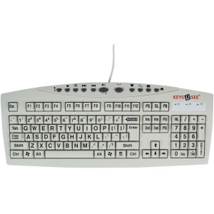 Ablenet Keys-U-See Large Print Wired Keyboard, Black Print on White Keys - Cable Connectivity - USB Interface - Compatible with Computer (Windows) - Internet, Multimedia Hot Key(s) - Black, White