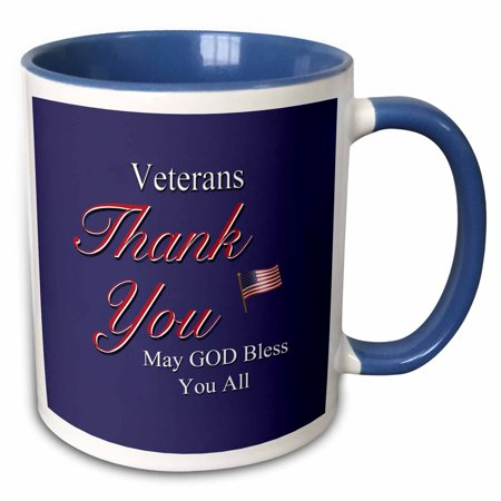 Veteran Military Large Mug (3dRose Thank You Veterans, May God Bless you all. Text art with USA flag in red, white and blue. - Two Tone Blue Mug, 11-ounce )