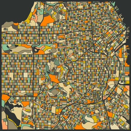 San Francisco Map Retro Abstract Print Wall Art By Jazzberry Blue