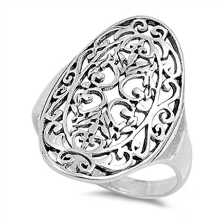 925 Silver Filigree Ring (Cutout Filigree Design Ring New .925 Sterling Silver Band Size 6)