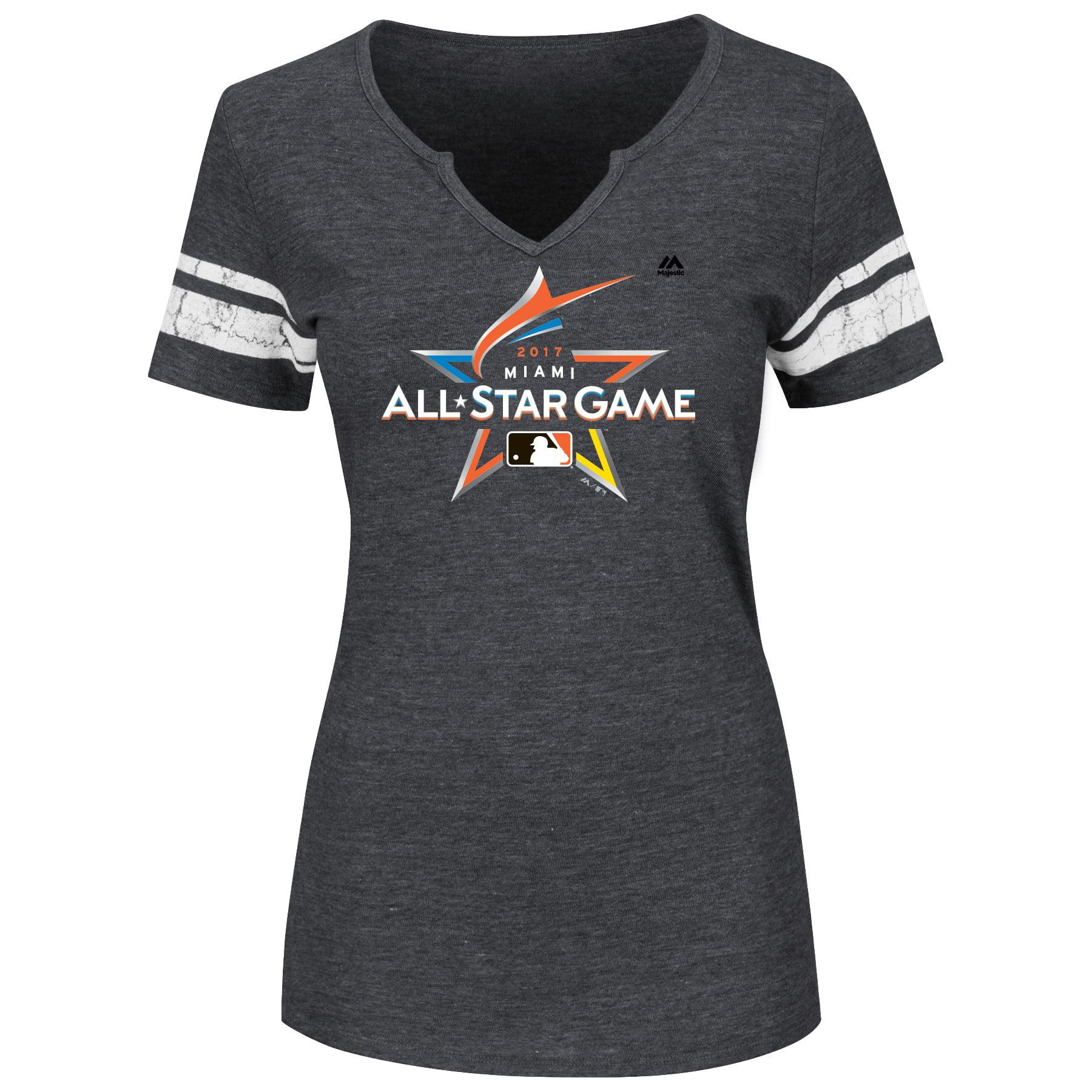 Majestic Women's 2017 MLB All-Star Game Notch V-Neck T-Shirt - Gray