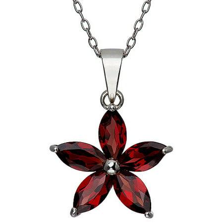 Garnet Marquise Flower Pendant, 18