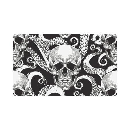 Skull Door Mat (MKHERT Skull and Tentacles of Octopus Doormat Rug Home Decor Floor Mat Bath Mat 30x18)