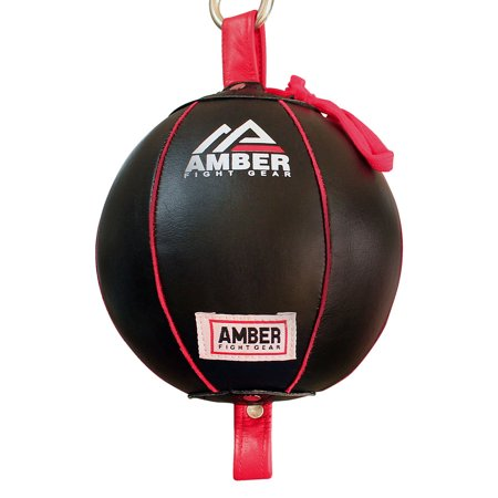 Amber Fight Gear Boxing MMA Muay Thai Fitness Workout Training Leather Punching Floor to Ceiling Speed Dodge Ball Double End Bag Professional with Bungee Cords Size