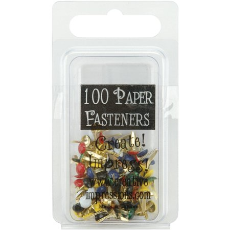 Primary Metal (Mini Painted Metal Paper Fasteners 3mm 100/Pkg-Round - Primary)