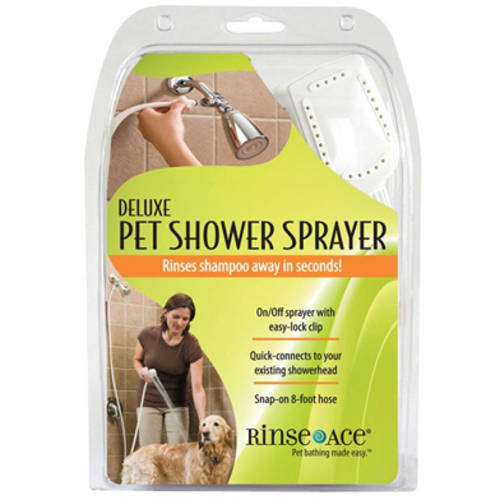 Rinse Ace Deluxe Pet Shower Sprayer with 8' Hose and Showerhead Attachment