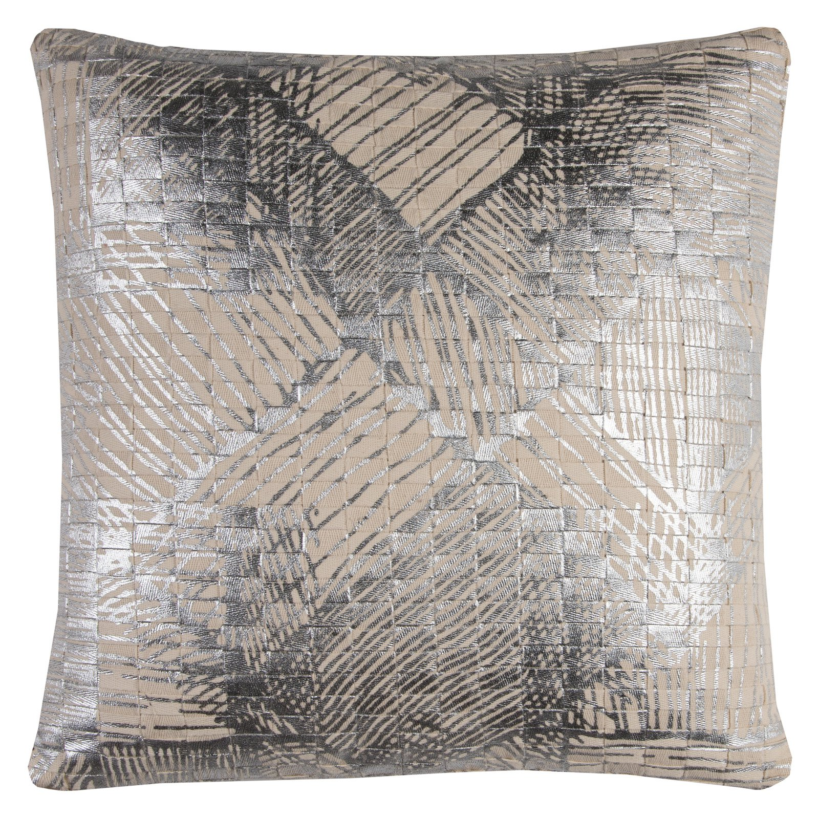 "Rizzy Home Decorative Poly Filled Throw Pillow Abstract 20""X20"" Silver"