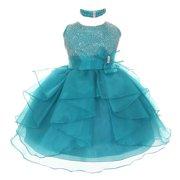 Baby Girls Teal Organza Rhinestuds Bow Sash Flower Girl Dress 24M