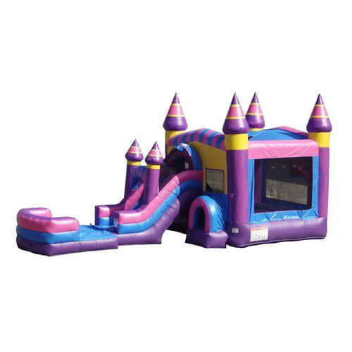 JumpOrange Inflatable Cotton Candy Mega Front Loader Slide Bounce House by