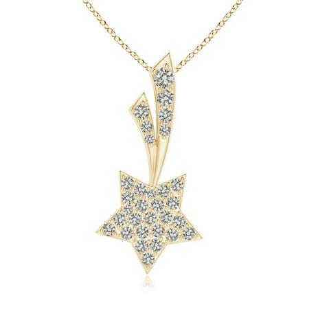 Star Cluster Pendant (Valentine Jewelry gift - Cluster Diamond Shooting Star Pendant in 14K Yellow Gold (1.7mm Diamond) - SP1197D-YG-KI3-1.7)