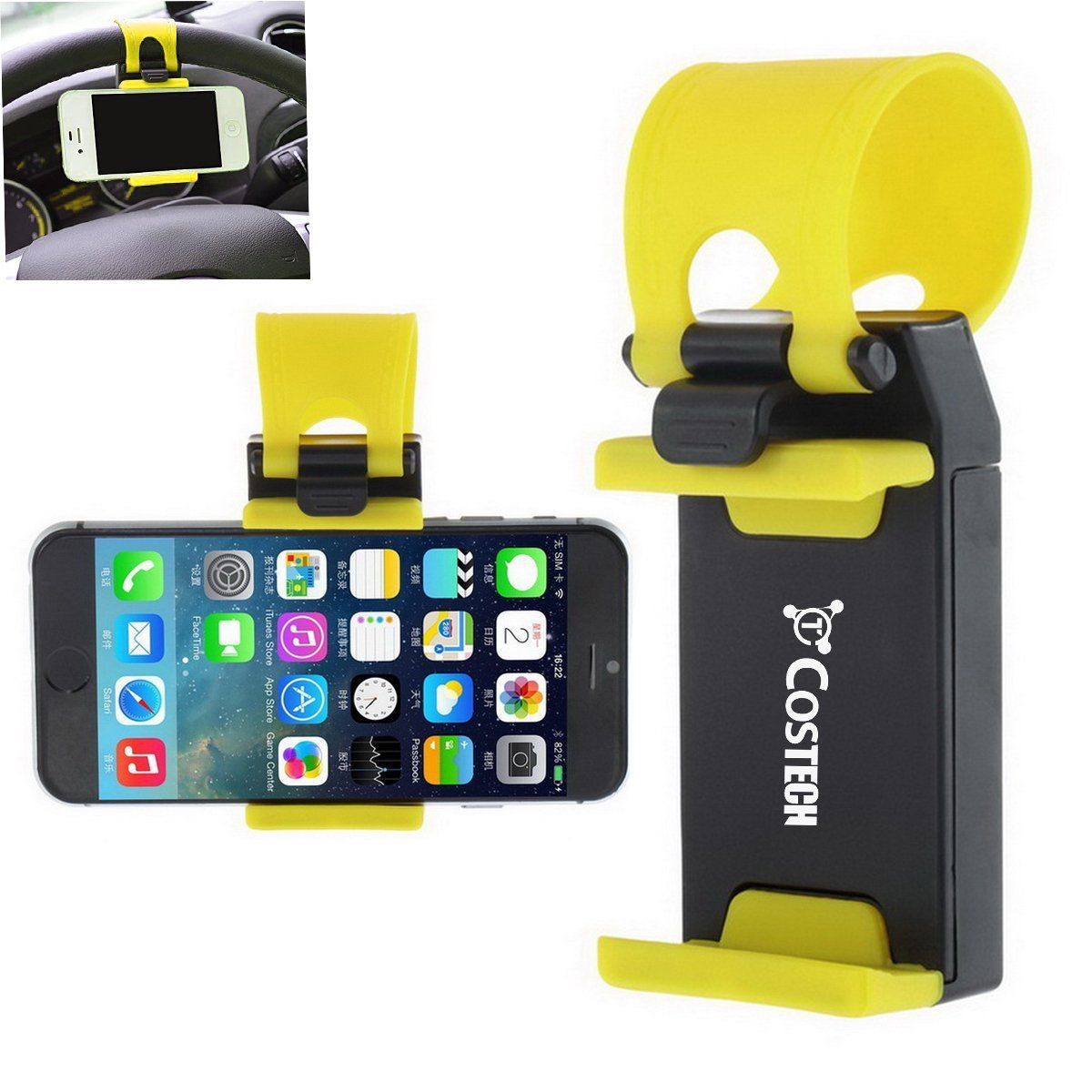 Car Mount, Costech Steering Wheel Stand GPS Rubber Band Holder for Iphone 6,6s,6plus,5s ,Samsung Galaxy S6,S5,Note 5,4,3,Other Not More than 5.5 Inch Moblie Phone (Yellow)