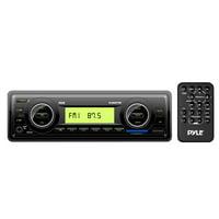 PYLE PLMR87WB - Marine Stereo Radio Headunit Receiver, Aux (3.5mm) MP3 Input, USB Flash & SD Card Readers, Remote Control, Single DIN (Black)