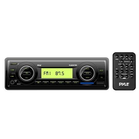 PYLE PLMR87WB - Marine Stereo Radio Headunit Receiver, Aux (3.5mm) MP3 Input, USB Flash & SD Card Readers, Remote Control, Single DIN