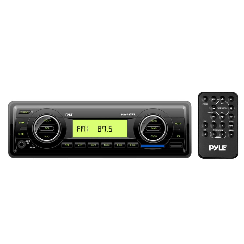 PYLE PLMR87WB - Marine Stereo Radio Headunit Receiver, Aux (3.5mm) MP3 Input, USB Flash & SD Card Readers, Remote Control, Single DIN (Black)
