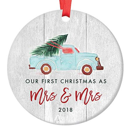 Lesbian Couple First Christmas as Mrs & Mrs, Gay Newlywed Ornament 2018, Wedding Gift Idea, Blue Pickup Truck Xmas Tree Ceramic Farmhouse 3