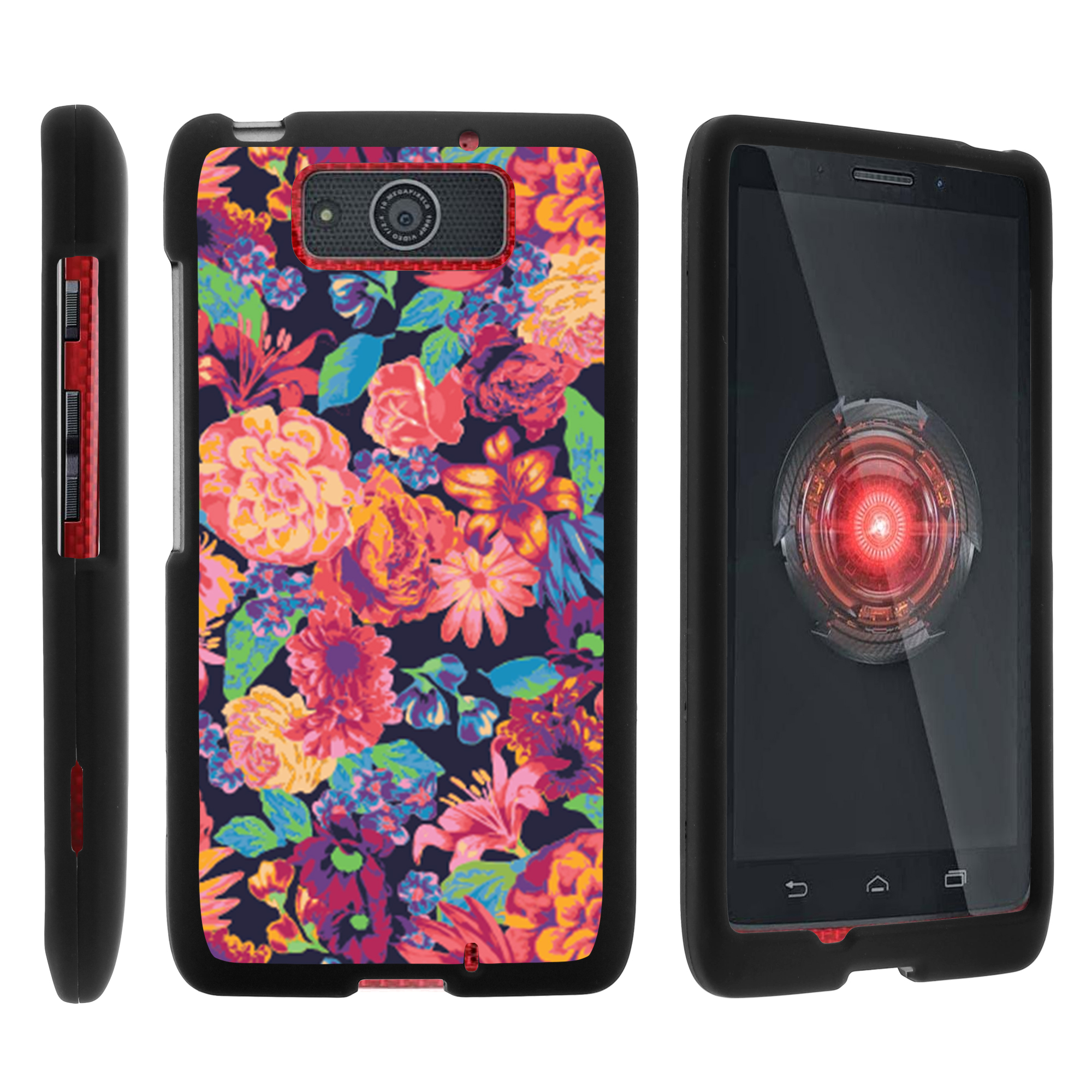 Motorola Droid Ultra XT1080 | Droid Maxx XT1080-M, [SNAP SHELL][Matte Black] 2 Piece Snap On Rubberized Hard Plastic Cell Phone Case with Exclusive Art - Floral Dream