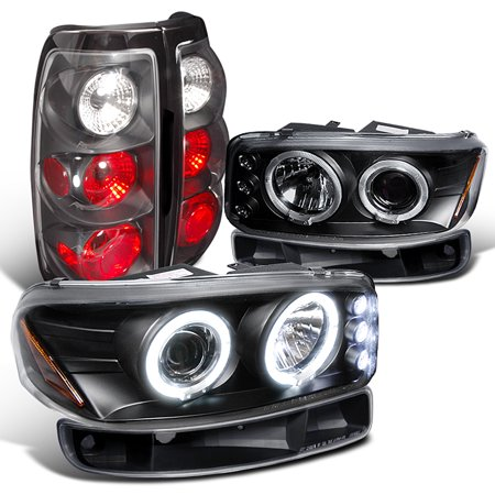 (Spec-D Tuning 1993-2003 Gmc Sierra 1500 2500 3500 Hd Led Halo Projector Headlights Black Tail Lamps (Left + Right))
