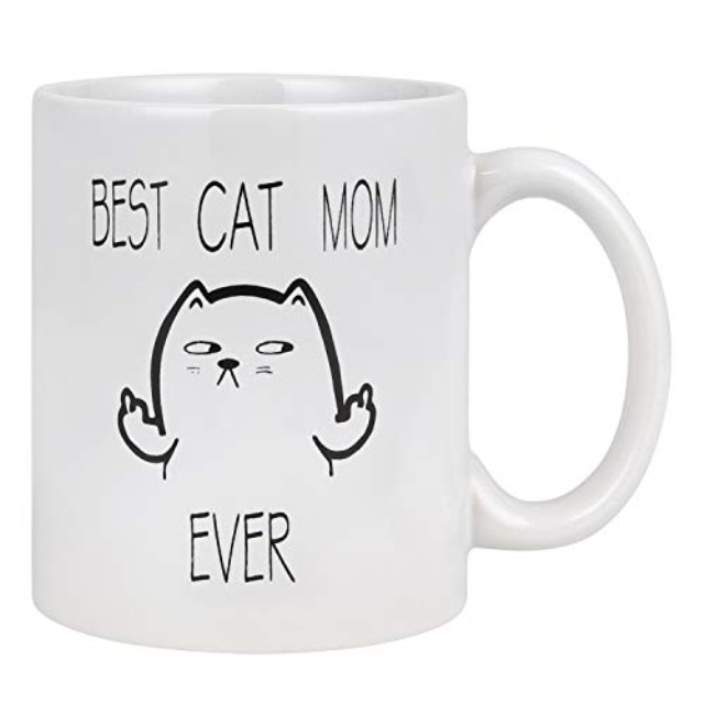 11 Oz Best Cute Idea for Mom Cup White Funny Cat Mom Coffee Mug for Cat Lovers Best Cat Mom Ever