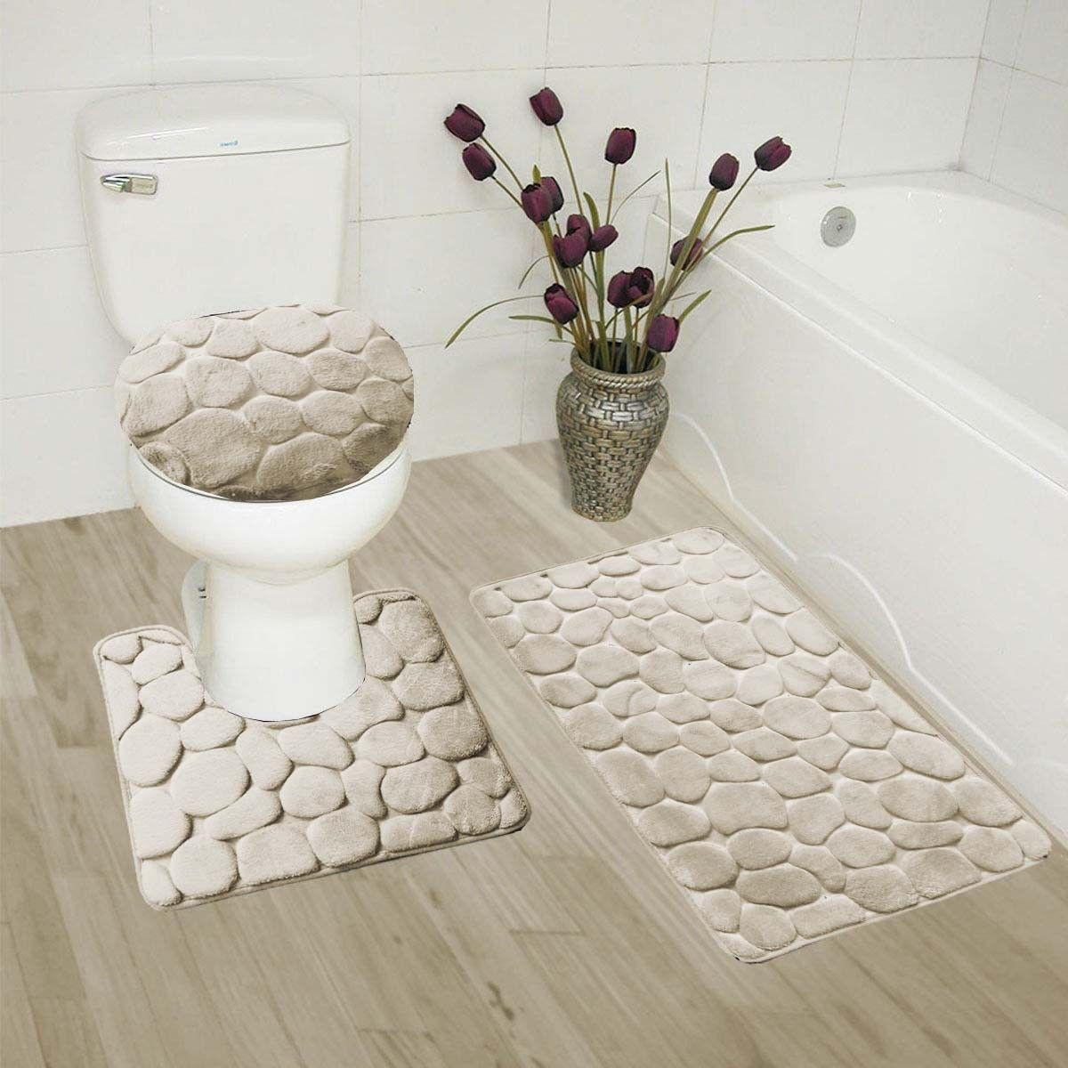 "BEIGE 3-Piece Rock Memory Foam Bathroom Mat Set, Flannel Embossed Rug 19""x 30"", Contour Mat 19""x19"", and Toilet Lid Cover 19""x19"" with Non-Skid Rubber Back"
