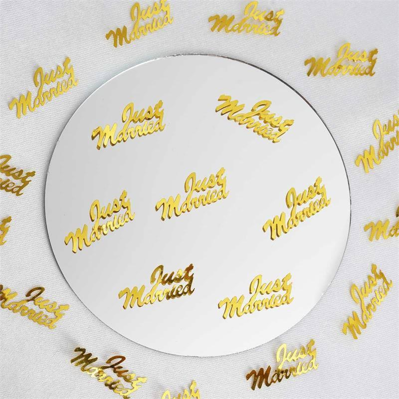 Efavormart Metallic Foil Wedding-Party Just Married Confetti - 300 PCS-Gold