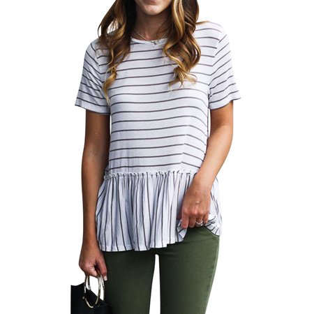 Nlife Women Short Sleeve Round Neck Striped Peplum T-Shirt