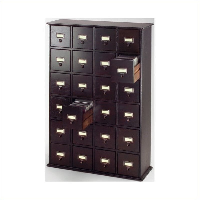 "Leslie Dame 40"" 24 Drawer CD Media Storage Cabinet in Espresso"