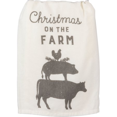 Stacked Chicken Pig Cow Animals Christmas On the Farm Holiday Kitchen Dish Towel (Cow Kitchen Towels)