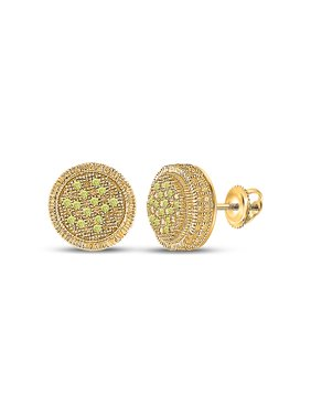 FB Jewels Sterling Silver Mens Round Yellow Color Enhanced Diamond Cluster Earrings 1/10 Cttw