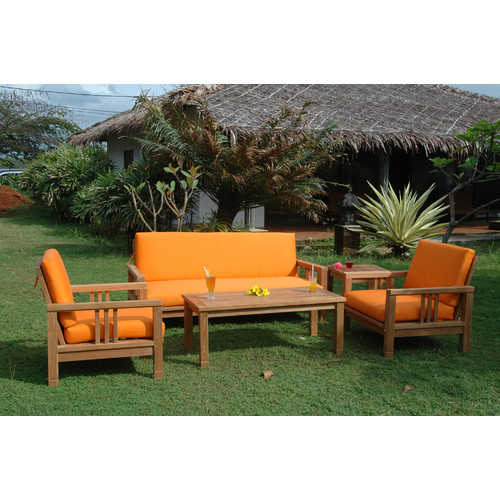 Anderson Teak South Bay 5 Piece Teak Sofa Seating Group with Sunbrella Cushions