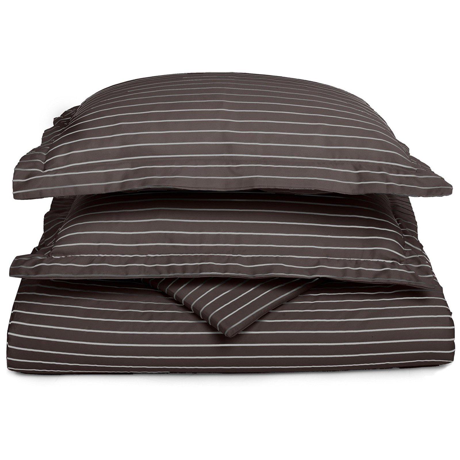 Superior 600 Thread Count Cotton Blend Bahama Stripe Duvet Cover Set