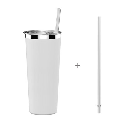 Simple HH Vacuum Insulated Coffee Cup | Double Walled Stainless Steel Tumbler with straw | Travel Flask Mug | No Sweating, Keeps Hot & Cold| 22oz(650ml)|BPA