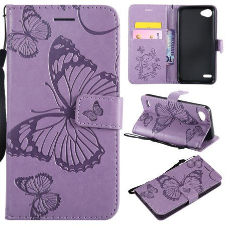 Embossed Card Case - LG Q6 Case, LG G6 Mini Case, LG Q6 Plus Case, Allytech Wrist Strap Flip Kickstand PU Leather Wallet Case Cover Embossed Butterfly with ID & Credit Card Holder for LG Q6, Purple