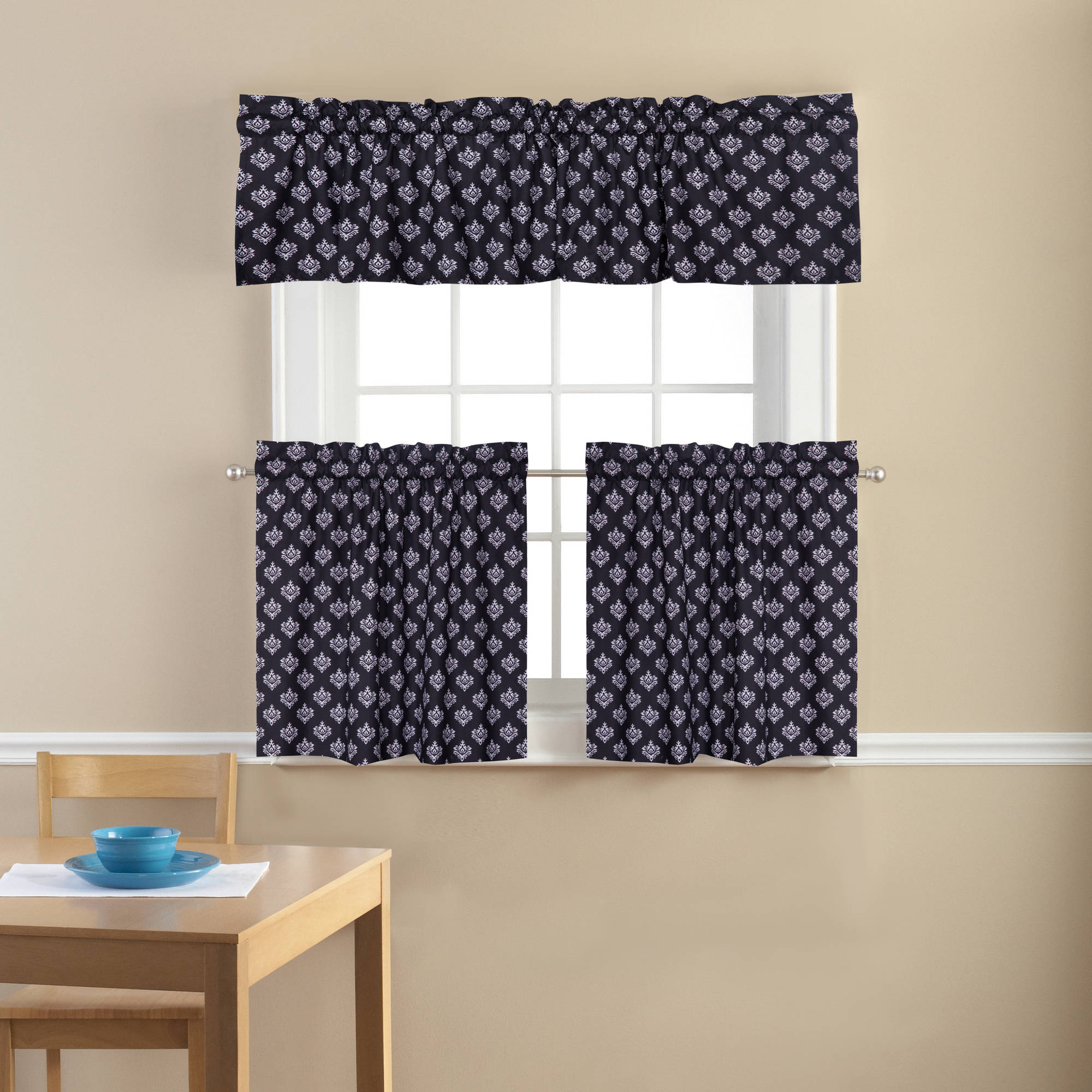 Mainstays Small Damask Classic Noir Kitchen Curtains